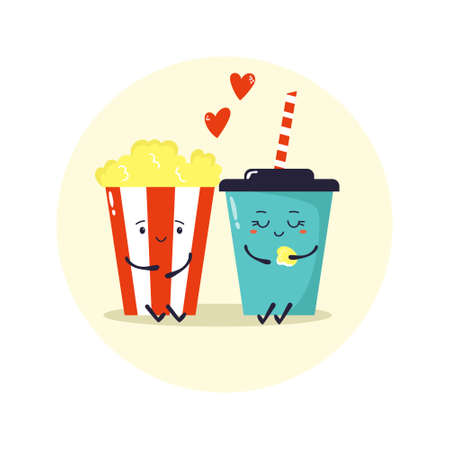 Two friends soda and pop corn. Comic illustration