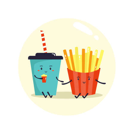 Two friends soda and French fries. Fast food friends.
