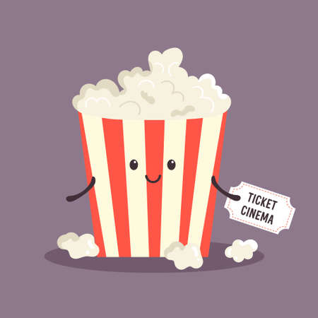 Cheerful bucket of popcorn. Happy character illustration