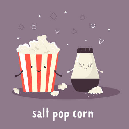 Popcorn and salt. Cheerful friends illustration