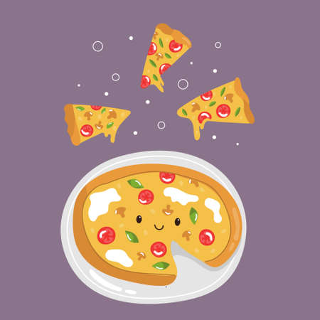 Funny pizza with delicious ingredients and tasty slices. Colorful vector illustration.