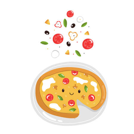 Funny pizza with delicious ingredients. Colorful vector illustration.