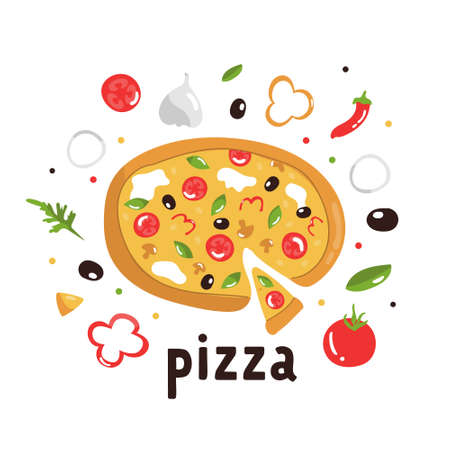 Tasty pizza with delicious ingredients. Colorful vector illustration