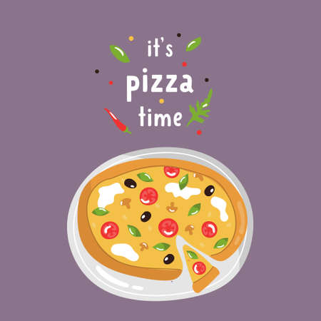 Tasty pizza with delicious ingredients. Colorful vector illustration.