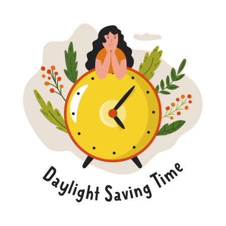Daylight Saving Time. Abstract design with clock and girl. Vector illustration Ilustrace