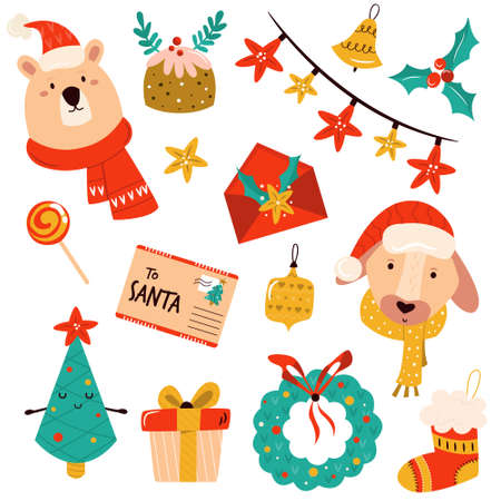 Holiday set with cute characters and decorative Christmas elements. Festive vector illustrations Ilustración de vector