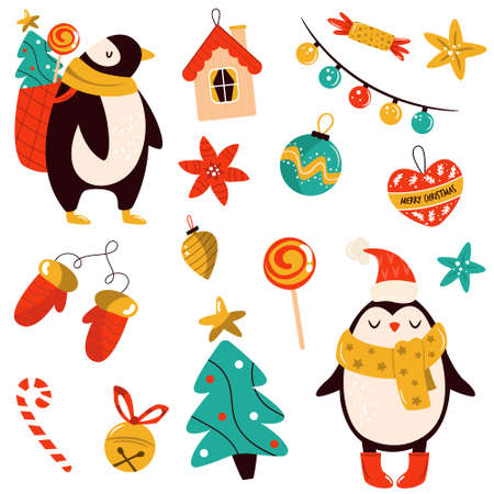 Holiday set with cute penguins and decorative Christmas elements. Festive vector illustrations