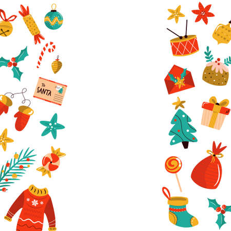 Christmas background with holiday elements, icons. Abstract design for festive season.