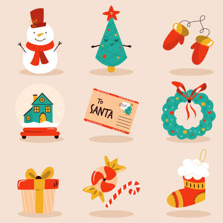 Holiday set with cute characters and decorative Christmas elements. Festive vector illustrations