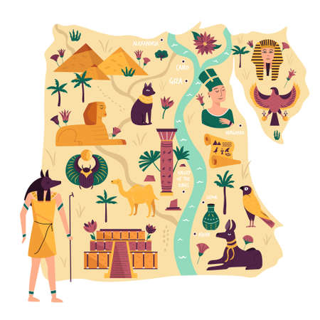 Illustrated map of Egypt with ancient landmarks, symbols, cities, statues. Vector illustration in a flat style