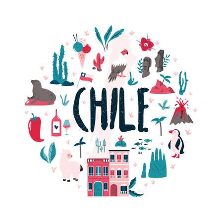 Abstract circle design with landmarks and symbols of Chile and Easter island. Design, banner for travel guides, prints, souvenirs