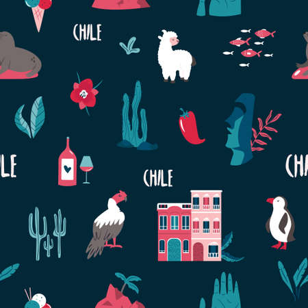 Seamless pattern with famous landmarks and symbols of Chile. Llama, Valparaiso, Easter island, condor, flag, etc. Set of icons on dark background