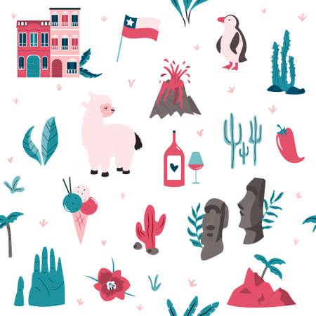 Seamless pattern with famous landmarks and symbols of Chile. Llama, Valparaiso, Easter island, condor, flag, etc. Set of icons on white background