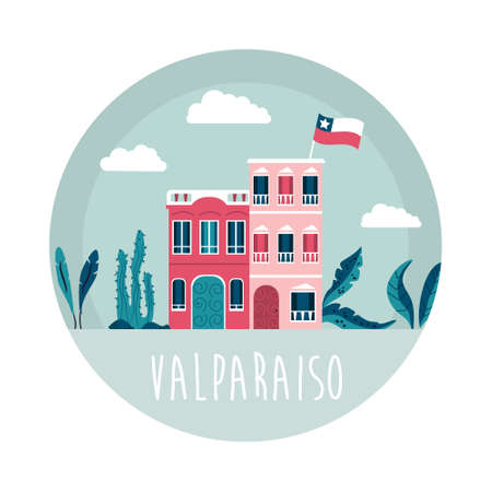 Valparaiso city vector illustration with traditional buildings and palm leaves. Colorful design for travel guides, posters, books