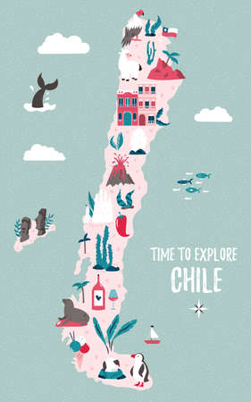 Chile hand drawn vector map with famous symbols, landmarks of the country and Easter island. Design, banner for travel guides, prints, souvenirs