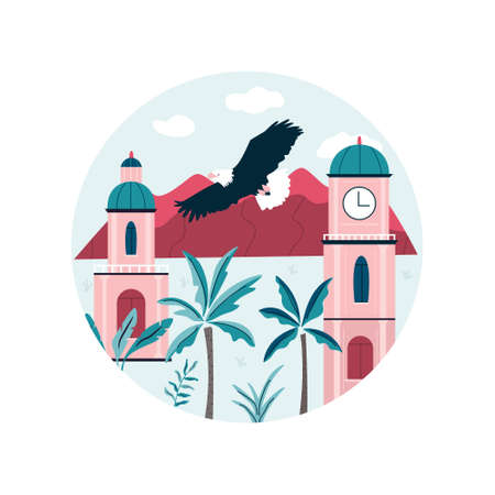 Santiago city vector illustration with traditional buildings and mountains behind. Colorful design for travel guides, posters, books
