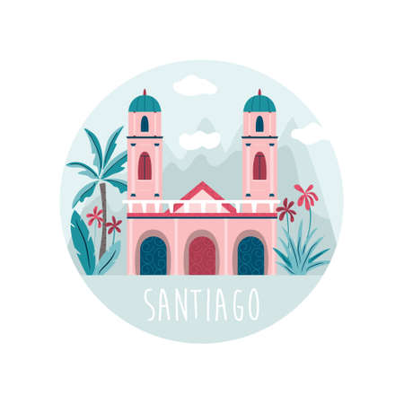 Santiago city vector illustration with cathedral at Placa de Armas and mountains behind. Colorful design for travel guides, posters, books