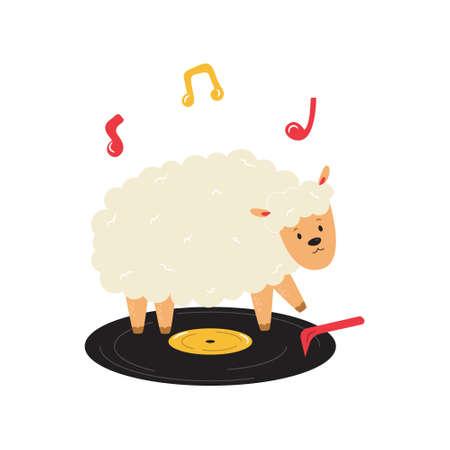 Funny illustration of sheep dancing on vinyl record. Hand drawn vector image, animal character design Çizim