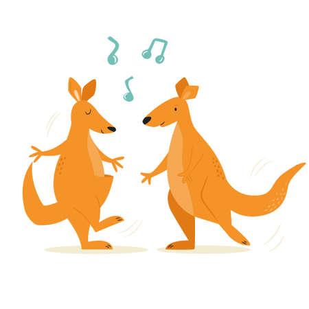 Cheerful illustration of a couple of dancing kangaroos. Hand drawn vector image, animal character design Çizim