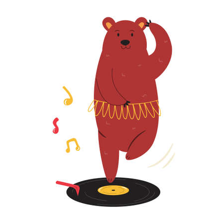Cheerful illustration of a ballerina bear dancing on a vinyl record. Hand drawn vector image, animal character design