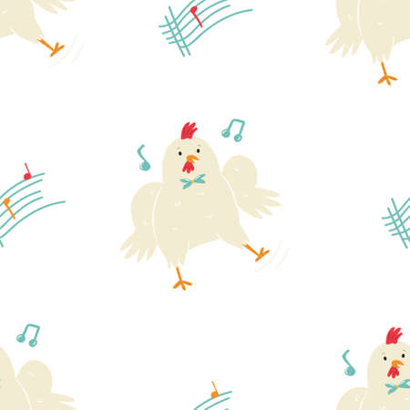 Seamless pattern with cute dancing chicken, little rooster in a bow-tie. Çizim