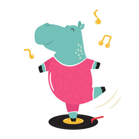 Cheerful illustration of a hippo dancing on a vinyl record. Hand drawn vector image, animal character design
