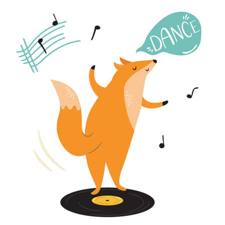 Funny illustration of a fox dancing on vinyl record. Hand drawn vector image, animal character design