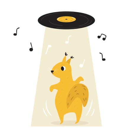 Funny illustration of a cute dancing squirrel. Hand drawn vector image, animal character design Çizim