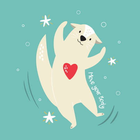 Funny illustration of a cheerful otter and text MOVE YOUR BODY. Hand drawn vector image, animal character design Çizim