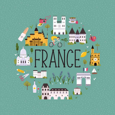 Abstract circle design with landmarks and symbols of France. Design, banner for travel guides, prints, souvenirs Stok Fotoğraf - 159430424
