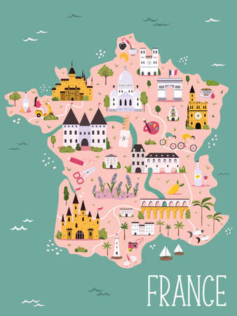 France hand drawn vector map with famous symbols, landmarks of the country. Design, banner for travel guides, prints, souvenirs Stok Fotoğraf - 159430447