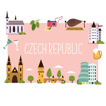 Abstract banner with famous symbols and landmarks of Czech Republic. Stok Fotoğraf - 159666702