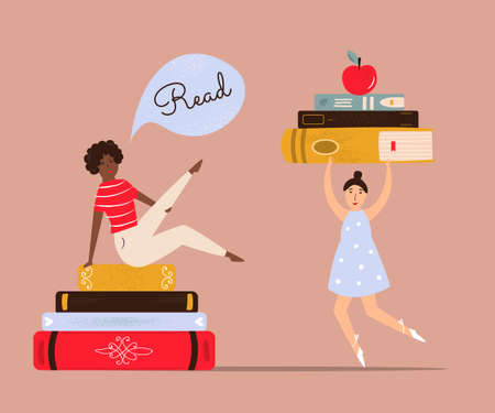 Vector illustration of young girls and piles of books. Stok Fotoğraf - 160578808