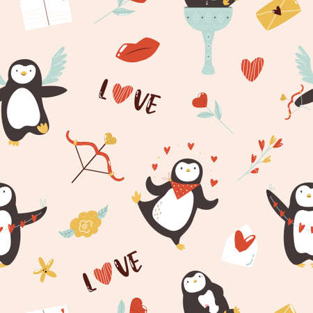 Vector seamless pattern with cute penguins for St. Valentines Day.