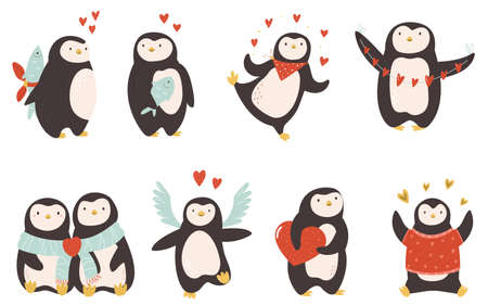 Set of cute penguins for St Valentines Day. Stock Illustratie
