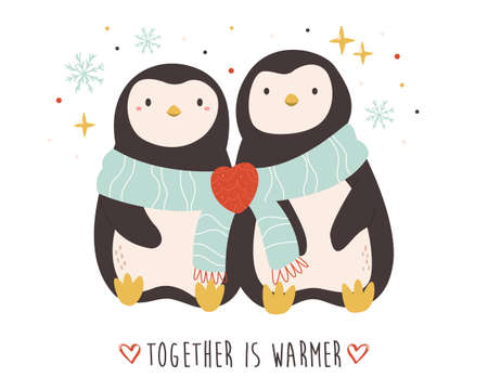 Funny illustration of two cute penguing. Romantic animal characters.