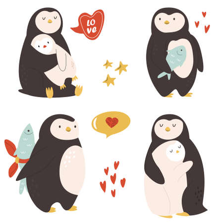 Collection of cute penguins. Vector character design