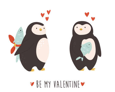 Cute penguins couple in love. Funny illustration of animal characters