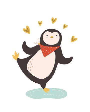 Vector iilustration of lovely penguin. Funny animal character design Çizim