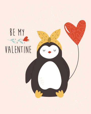 Valentines greeting card with lovely penguin. Funny animal character design