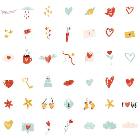 Big set of colorful icons for St Valentines Day