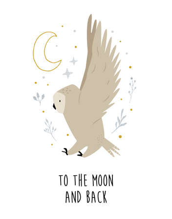 Creative poster with a flying owl and decorative elements. Çizim