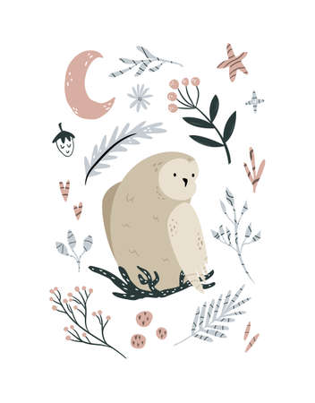 Creative poster with an owl sitting in the nest and forest elements.