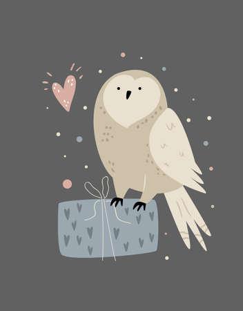 Cute illustration of an owl sitting on a gift box Çizim