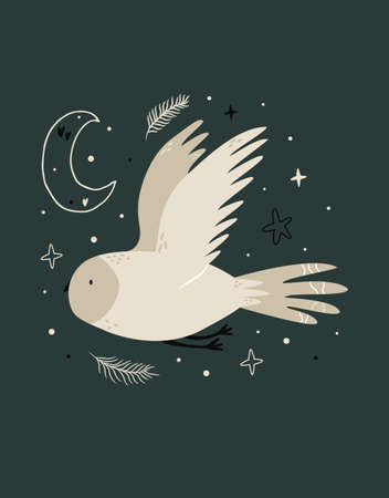 Creative poster with a flying owl and night sky elements.