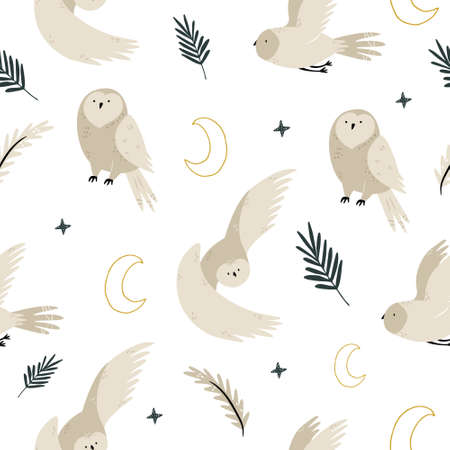 Seamless pattern with cute owls and hand drawn decorative elements