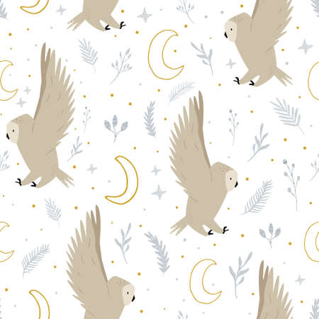 Seamless pattern with cute flying owls and hand drawn decorative elements Çizim