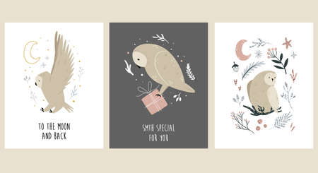 Set of greeting cards with cute, funny owls. Çizim
