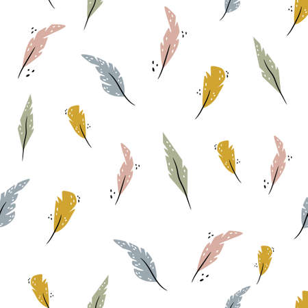Abstract sewamless pattern with colorful bird feathers