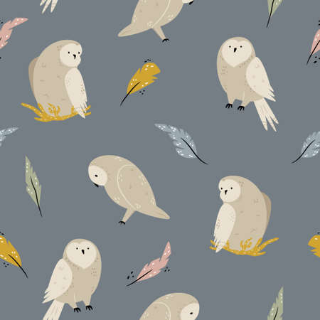 Seamless pattern with cute owls and feathers